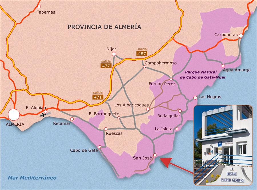 Mapa De San José Parque Natural De Cabo De Gata Almería